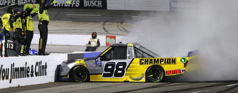 Grant Enfinger Wins NASCAR Hall Of Fame 200 NASCAR Gander RV & Outdoors Truck Series Playoff Race At Martinsville Speedway